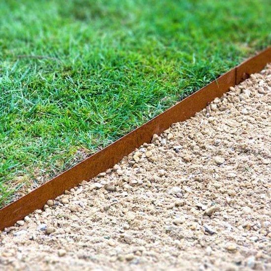 Flexibele kantopsluiting cortenstaal zandcompleet - Tuin oprit plaat ...